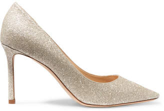 Jimmy Choo Romy 85 Glittered Leather Pumps - Silver