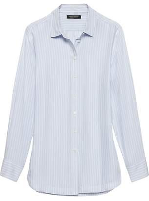 Banana Republic Petite Parker Tunic-Fit Stripe Shirt