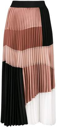 Nude pleated colour block skirt