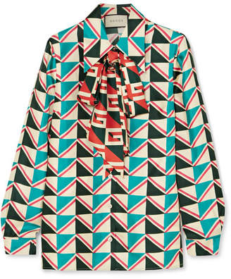 Gucci Pussy-bow Printed Silk-twill Shirt - Green