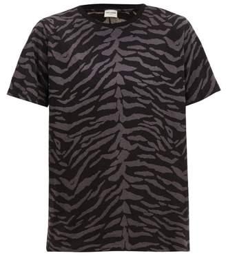 Saint Laurent Zebra Print Cotton Jersey T Shirt - Mens - Black Grey