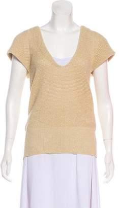 Sacai Silk-Trimmed Short Sleeve Sweater