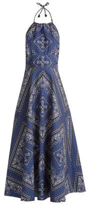 RED Valentino Bandana Print Cotton Halterneck Dress - Womens - Blue Multi