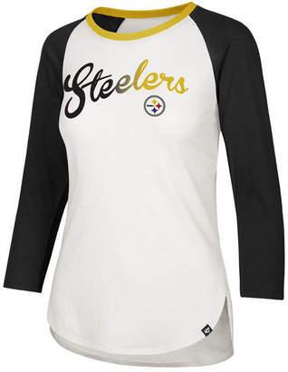 '47 Women's Pittsburgh Steelers Splitter Ombre Raglan T-Shirt