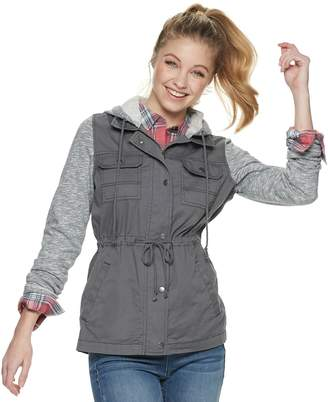Mudd Juniors' Knit Sleeve Hooded Utility Jacket