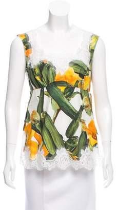 Dolce & Gabbana Vegetable Print Sleeveless Top w/ Tags