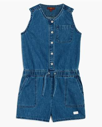 7 For All Mankind Kids Girls 4-6X Front Button Romper In Vintage Blue