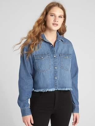 Gap Boxy Distressed Denim Western Shirt