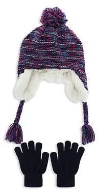 Capelli Girls' Knit Toggle Hat & Gloves Set - Little Kid, Big Kid