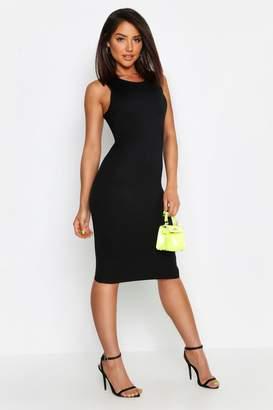 boohoo Neon Rib Fitted Midi Dress