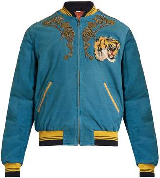 Gucci Dragon-embroidered corduroy bomber jacket