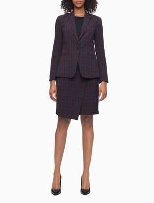 Calvin Klein Burgundy Plaid Button Wrap Pencil Skirt