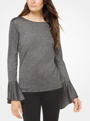 MICHAEL Michael Kors Metallic Knit Bell-Cuff Sweater