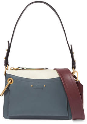Chloé Roy Day Small Leather And Suede Shoulder Bag - Blue
