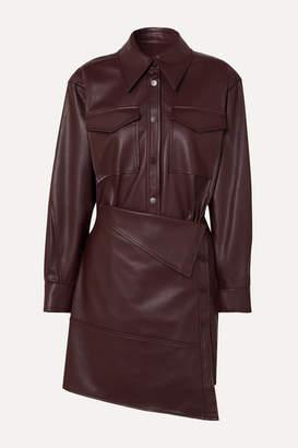 Low Classic Asymmetric Faux Leather Mini Dress - Burgundy