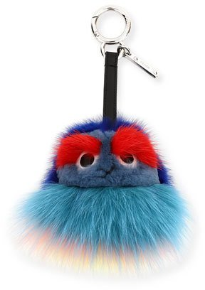 FendiFendi Mini Monster Ball Fur Charm, Blue/Multi