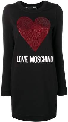 Love Moschino rhinestone heart sweatshirt dress