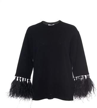 Valentino Crew Neck Sweater with Ostrich Trim