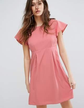Vero Moda Emma Dress with Ruffle Sleeves in Dusty Rose