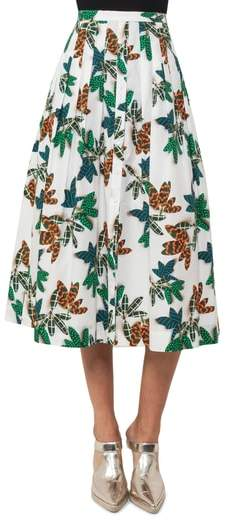 Tropical Print Cotton Midi Skirt