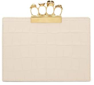 Alexander McQueen Knuckle Crocodile Effect Leather Clutch - Womens - White