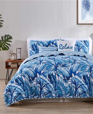 Vcny Home Blue Tropical Reversible 5-Pc. King Quilt Set