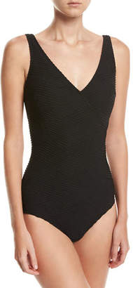 Gottex Essence Textured Surplice One-Piece Swimsuit $108 thestylecure.com