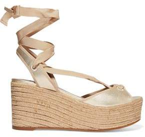 Tabitha Simmons Logan Metallic Leather Wedge Espadrille Sandals