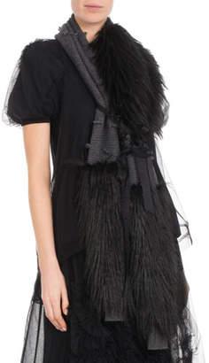 Simone Rocha Wool-Cashmere Knit Scarf w/ Faux-Fur Wrap