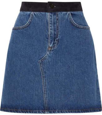 Victoria Beckham Victoria, Suede-trimmed Denim Mini Skirt - Mid denim