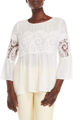 Spense Paisley Embroidered Bell Sleeve Top