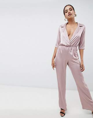 Missguided Satin Tux Tie Waist Jumpsuit