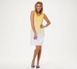 Denim & Co. Dip-Dye Sleeveless Scoop-Neck Midi Dress