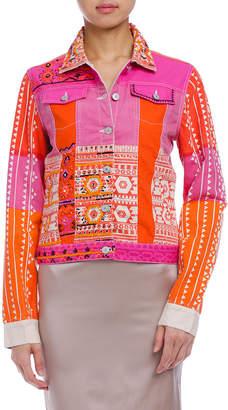 Desigual (デジグアル) - Desigual プリント切替 デザインジャケット ピンク/オレンジ 38