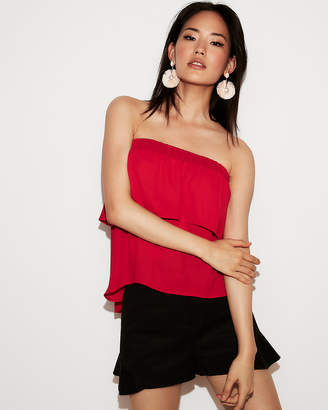 Express Solid Tiered Ruffle Tube Top