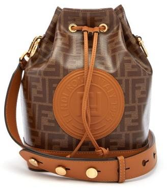 Fendi Mon Tresor Ff Jacquard Leather Bucket Bag - Womens - Tan Multi
