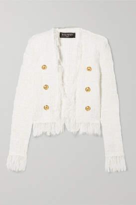 Balmain Fringed Metallic Tweed Jacket - Ivory