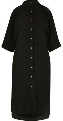 River IslandRiver Island Womens Black cold shoulder shirt dress