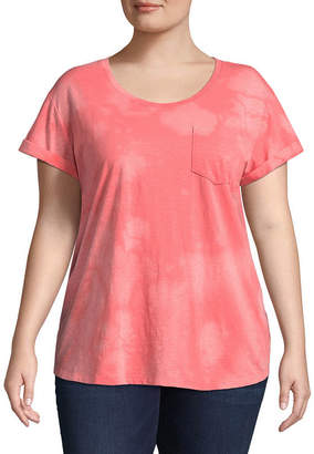 A.N.A Short Sleeve Scoop Neck Cloudy Wash T-Shirt - Plus