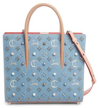 Christian Louboutin Medium Paloma Studded Denim & Leather Tote