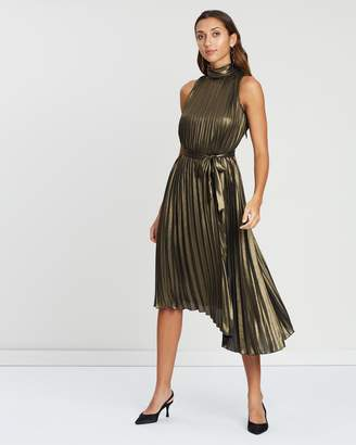 Warehouse Foil Pleated Midi Dress
