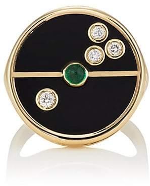 Ring Black RETROUVAI Women's Compass Signet Ring