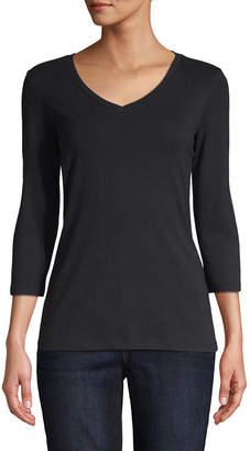 ST. JOHN'S BAY 3/4 Sleeve V-Neck T-Shirt - Tall