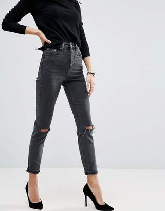 Asos Design Farleigh High Waist Slim Mom Jeans In Washed Black With Busted Knees