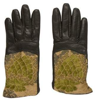 Etro Jacquard Leather Gloves green Jacquard Leather Gloves
