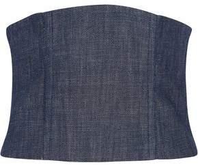 Tibi Mesh-Paneled Denim Bustier Top