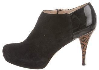Fendi Round-Toe Suede Booties