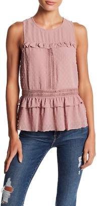Willow & Clay Chiffon Swiss Dot Ruffle Top
