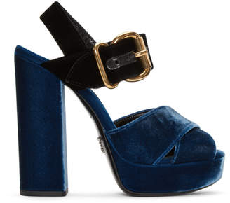 Prada Blue and Black Velvet Platform Sandals