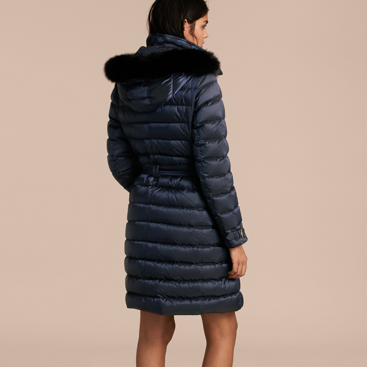 Burberry Down-filled Coat with Fox Fur Trim Hood , Size: XL, Blue